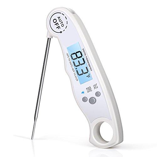 Rophie Lebensmittelthermometer Sonde – Digitales Thermometer für Fleisch oder zum Kochen mit sofortigen Messungen auf dem LCD Display mit Hintergrundlicht / Sonde zum Grillen, für den Ofen, Herd usw., aber auch zum Kochen sowie für Wein (Weiß)