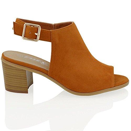 ESSEX GLAM Sandalo Donna Peep Toe con Tacco A Blocco Basso e Cinturino Posteriore Tan Finto scamosciato