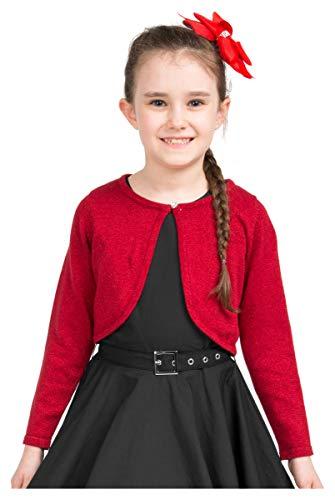 BlackButterfly Kinder Langarm Bolero Funkeln Strickjacke Mädchen (Rot, 5-6 J / 110-116) (Mädchen Strickjacke Rote)