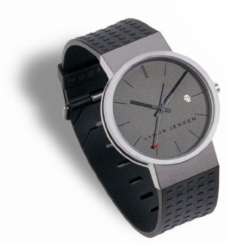 Jacob Jensen Clear Series Unisex Quartz Watch with Grey Dial Analogue Display and Grey Rubber Strap 411
