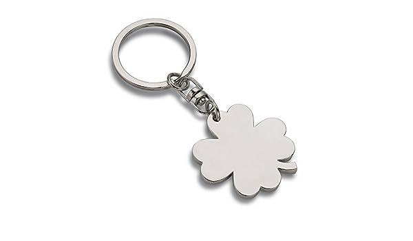 Schlüsselanhänger Kleeblatt matt Glücksbringer mit Gravur