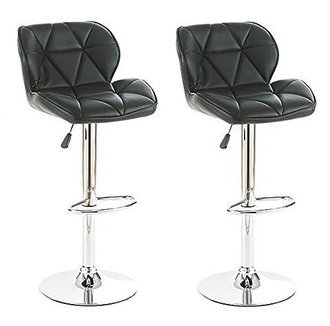 Neotechs® 2 x Black Diamond Chrome Base Gas Lift Swivel Faux Leather Kitchen Breakfast Bar Stool