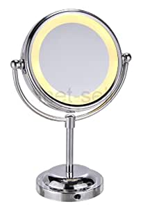 Miroir grossissant avec zoom x5 et éclairage LED double face