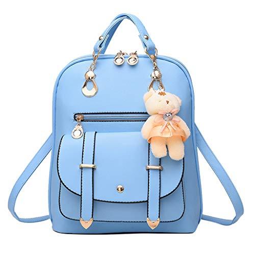 Finebo Rucksack Damenrucksack Paket Frühling Sommer Student Mode Lässige Handtasche Mehrfach Umhängetasche (Blau) -