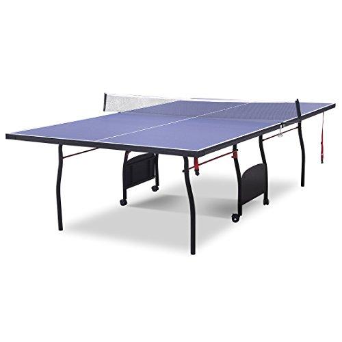 HLC, tavolo da ping pong altamente professionale, per interni ed esterni, con rete, blu, 2,8 m