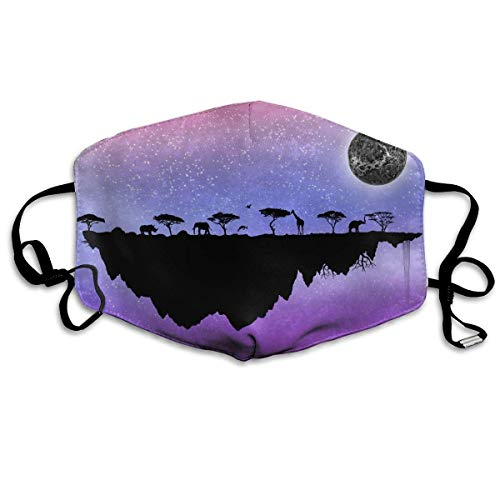 Pace Elephant Giraffe Moon Island Anti-Dust Earloop Mouth Mask for Women Men, Anti Flu Pollen Germs Painting Kaomoji Half Face Mouth Mask - Elastic Band Hypoallergenic Respirator -