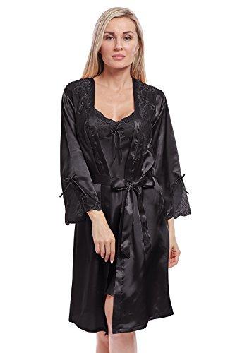 Bellismira donne accappatoio sexy della biancheria sciolto raso pigiama kimono camicia da notte setosa vestaglia con cintura (solo kimono)