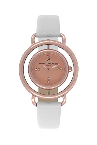 Daniel Hechter DHD - 011/2 TB-Women's Quartz Analogue Watch-Pink Face-White Leather Strap
