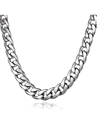 Trendsmax cadena de acero inoxidable de 11 mm muchacho de los hombres del tono de plata collar de cadena del encintado Cuban Link