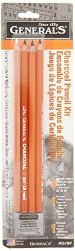 Normaler Bleistift (321742),557BP Holzkohle-Bleistift-Set mit Radiergummi, 0,3cm Höhe, 7cm Breite, 24,8cm Länge (5Stück)