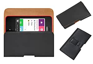 Acm Belt Holster Leather Case For Nokia Asha 501 Mobile Cover Holder Clip Magnetic Closure Black