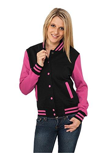 Urban Classics Damen Jacke Ladies 2-tone College Sweatjacket Black/Fuchsia