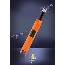 Tesla-Lighter T07 Lichtbogen Feuerzeug USB Feuerzeug Grillfeuerzeug Stabfeuerzeug BBQ wiederaufladbar Orange