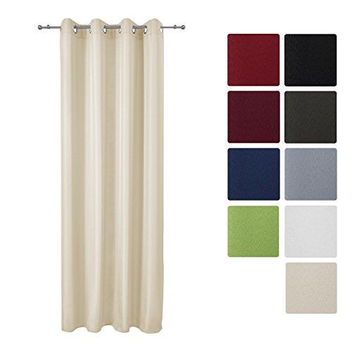 Beige Fenster (Beautissu Blickdichter Ösen-Vorhang Amelie - 140x245 cm Creme (Beige) Uni - Dekorative Gardine Ösenschal Fenster-Schal)