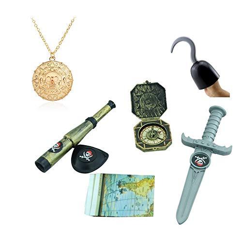 cessoires für das Piratenkostüm Ihres Kindes, Kostüm Zubehör, Handhaken, Dolch, Augenklappe, Schatzkarte, Fernglas, Kompass, Goldamulett ()