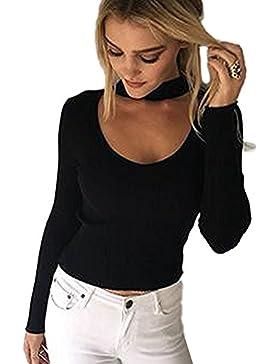 Minetom Mujeres Suéter Jersey Manga Larga Casual V Escote Sueter Flojo Camiseta Top Blouses