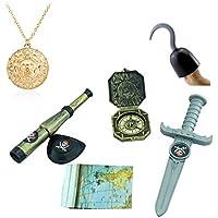 TRIXES Déguisement Accessoires pour Enfant du Parfait Petit Pirate avec Un Crochet, Une dague, Une Boussole, Une Carte au trésor, Un Cache œil, Une Longue Vue et Un médaillon