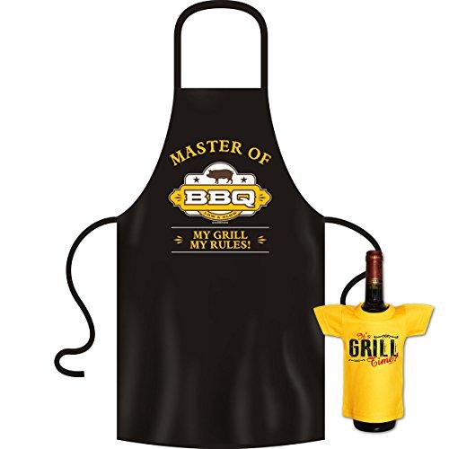 tolle bedrucke Grillschürze im Set + Mini T-Shirt Master Geburtstag Geschenk Grill Schürze Kochschürze Latzschürze Partyschürze Küche Goodman Design®