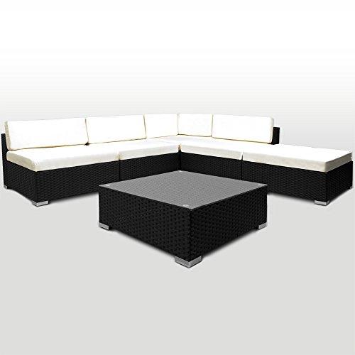 Salon canapé de jardin combinable en polyrotin noir 16 pièces et coussins épaisseur 7cm