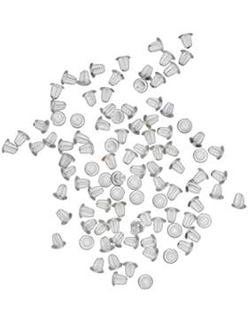 100 Stück klare Kunststoff Ohrring Verschlusskappen & Angelhakenstopper