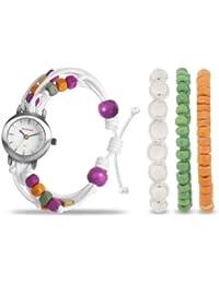 Kahuna KLF-0015LSTK - Reloj analógico de cuarzo para mujer, correa de tela color blanco