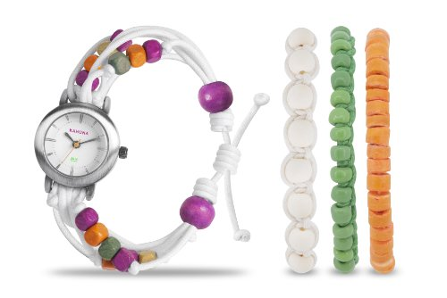 Kahuna KLF-0015LSTK – Reloj analógico de cuarzo para mujer, correa de tela color blanco