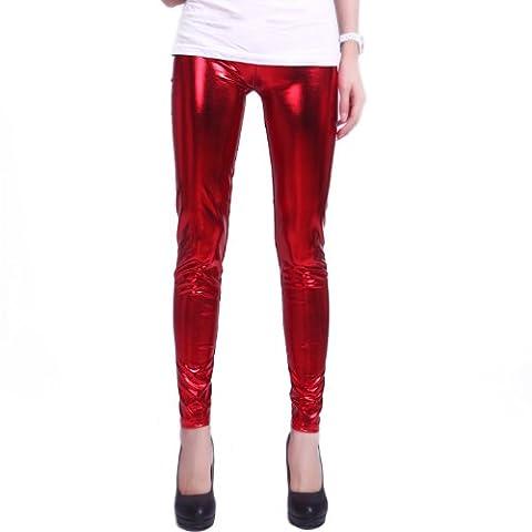HDE Women's Metallic Liquid Footless Tight Shiny Wet Look Leggings (Plus Sizes) (Red, X-Large)