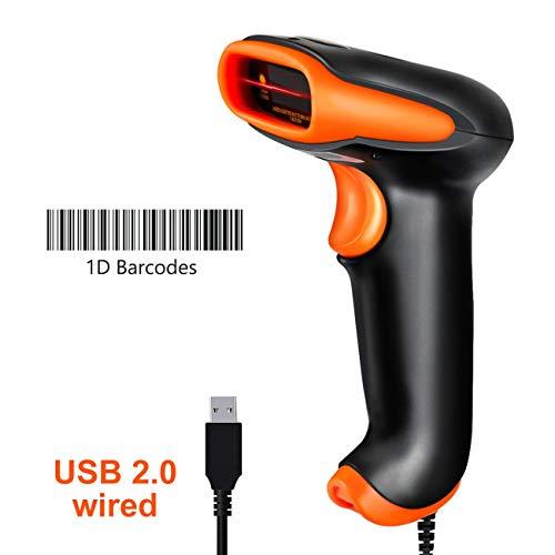 Tera Barcode Scanner usb Barcodescanner Handscanner Handheld Scanner USB Lesegerät 1D Tragbar Kabelgebunden 1D Strichcode-Scanner automatisches schnelles und präzises Scannen IP54 (Tragbare Barcode-scanner)