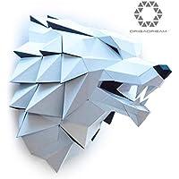 Loup Papercraft Kit 3D DIY Pré-coupé, Puzzle 3D pour Adultes, Assemblage Sculpture papier Qualité cartonné épais 300g pour décoration Trophée murale, Loisirs Créatifs ORIGADREAM