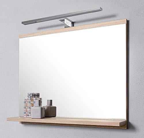 DOMTECH Espejo de baño con estantes, Roble Sonoma, con iluminación LED, Espejo de Pared