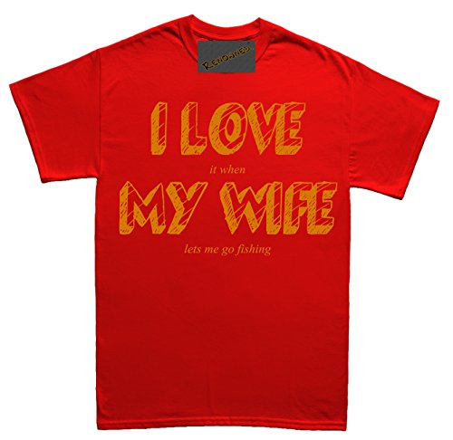 Renowned I LOVE MY WIFE (when she lets me go fishing) funny Unisex - Kinder T Shirt Rot