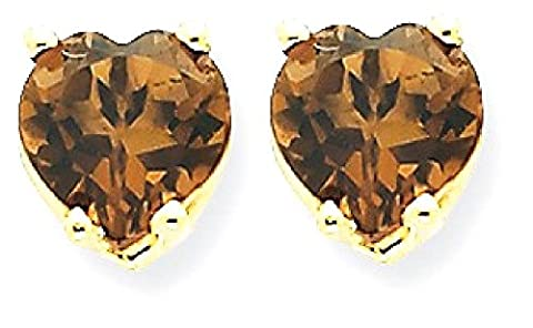 IceCarats 14k Yellow Gold 6mm Heart Smoky Quartz Earrings