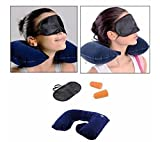 Krevia Amazing 3 In 1 Air Travel Kit Combo - Pillow , Ear Buds & Eye Mask(Assorted,Pillow - Flannelette , Ear Buds - Cotton Foam , Eye Mask - Polyester)