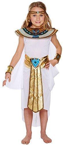 ück weiß Kleopatra Ägyptischer Pharao Geschichte Kostüm Kleid Outfit 4-1 - Weiß, 7-9 Years (ägyptische Kostüme Kind)