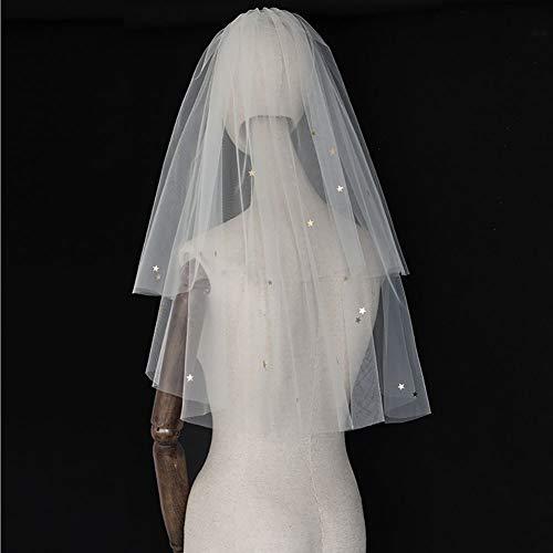 LINLIN Sterne Pailletten Schleier Prinzessin Spitze Tüll Mit Kamm Brautkleid Zubehör für Braut und Brautjungfern (weiß),80cm