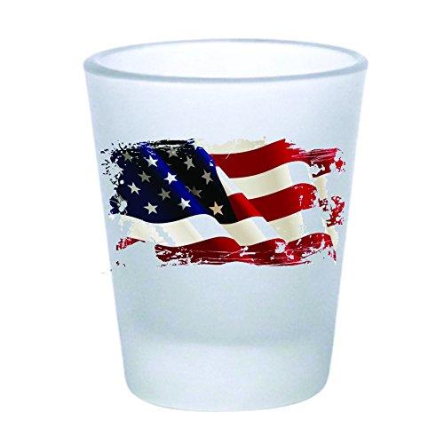 SHOT GLAS-American Flag Vintage-Frosted (60) (Gläser Shot Bachelorette)