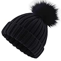 ElifeAcc 2018 Warm Winter Fur Hat Knitted Pom Pom Beanie Bobble Hats for Outdoor Camping Ski caps(Black)(Size:M)