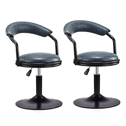 Drehhocker, Kleiner Drehstuhl, Bürostuhl, Bürostuhl, Farbe Antik Hohlkante Für Bar Rezeptionstresen Lift 40-55cm 4 Farben (Farbe : Antique Blue×2) - 4 Zähler Höhe Stühle