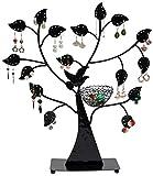 LAUBLUST Schmuckständer im Schmuckbaum Design - ca. 43x39x8 cm, Schwarz - Dekorativer Metall Schmuck-Halter Ornament Blätter & Ring-Nest | Schmuck-Aufbewahrung | Ohrring-Ständer | Ketten-Halter