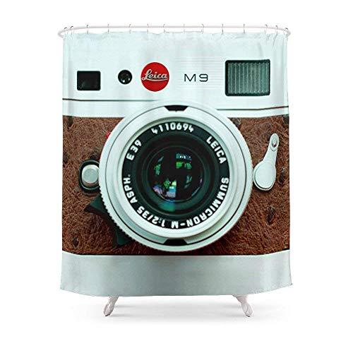 Suminla-Home Badezimmer Classic Retro Weiß mit braun Leder Vintage Kamera iPhone 44S 55C, iPod, iPad Fall Duschvorhang 182,9cm von 182,9cm