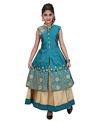 JBN Creation Girls Embroidered Jacket And Lehenga Set For Kids (Color: Green & Gold)