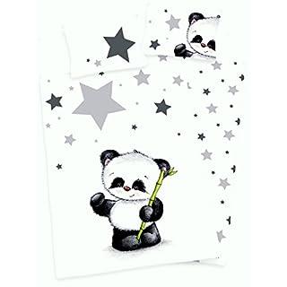 3 tlg. Baby Bettwäsche Wende Motiv Panda renforcé 100x135 cm + 40x60 cm + 1 Spannbettlaken 70x140 cm (mit Laken: grau)