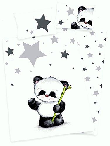 3 tlg. Baby Bettwäsche Wende Motiv: Panda - Flanell 100x135 cm + 40x60 cm + 1 Spannbettlaken in weiß 70x140 cm -