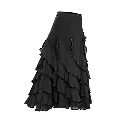 B Blesiya Falda Larga de Mujer Cintura Alta Color Sólido Traje de Danza de Vientre Baile Latino de Salsa Cha Cha - Negro, 920cm