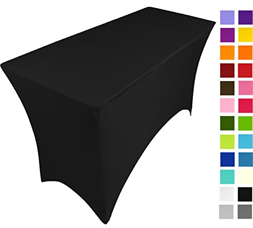 Nappe extensible en lycra pour table de 1,2 m, 120 cm x 75 cm x 75 cm, 25 couleurs disponibles