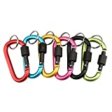 #9: Sting Outdoor Aluminium D-Ring Clip hook Carabiner Keychain Screw gate Screw Locking , Assorted Color . 10 Pc