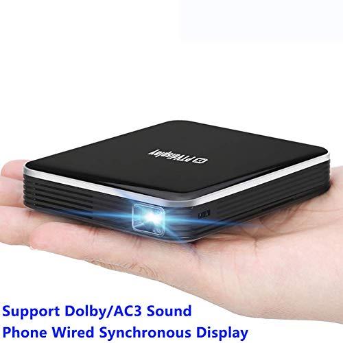 video Mini-Projektor FüR Smartphones Mit Akku, Kabelgebundene Dlp-Multimedia-Led Mit Gleichem Bildschirm, UnterstüTzt 1080p, Heimkino-Videoprojektor