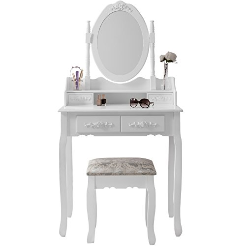 Vienna DR006 White Dressing Table Stool Mirror Set 5 Drawers Bedroom Dr
