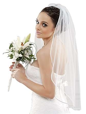 Schlichter Brautschleier Schleier mit Satinkante, einstufig Feintüll weiß