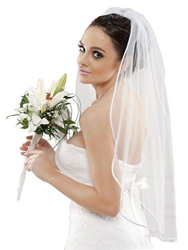 Schlichter Brautschleier Schleier mit Satinkante, einstufig Feintüll creme / ivory